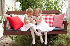 Girls in the garden. Spring in the garden Picnic Time, Spring Is Coming, Outdoor Furniture, Outdoor Decor, Toddler Bed, Ikea, Bench, Pillows, Spring Decorations