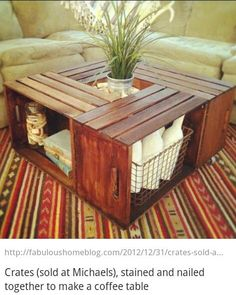 Coffee table made from crates! Crates sold at Michael's. Outside coffee table, Outdoor Supplies in crates (sidewalk chalk, lawn yahtzee, stuff that COULD get wet) Home Projects, Home Crafts, Diy Home Decor, Room Decor, Pallet Projects, Coffee Table Made From Crates, Coffee Table Out Of Crates, Country Coffee Table, Crate Table
