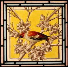 Painted stained glass bird via http://www.vitraux.co.uk