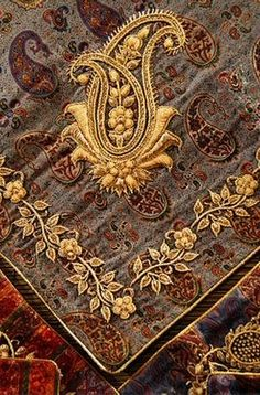 gold embroidered silk boteh