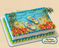 Summer Flip Flop Cake for Luau Party from Publix Birthday Cake Decorating, Cake Decorating Tutorials, Flip Flop Cakes, Flip Flops, Flip Flop Cake Ideas, Bolo Moana, Hawaian Party, Luau Party Supplies, Birthday Sheet Cakes