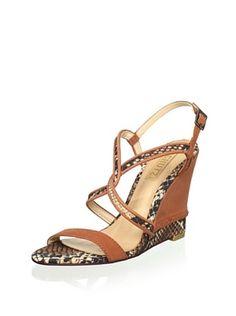 Schutz Women's Wedge Sandal (Snake/Clay)