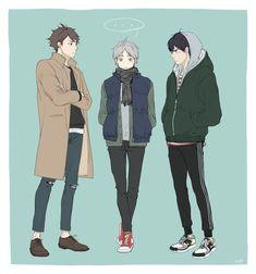 - Oikawa, Sugawara and Kageyama Manga Art, Manga Anime, Anime Art, Chibi, Kageyama Tobio, Sugawara Koushi, Haikyuu Anime, Anime Kawaii, Anime Outfits