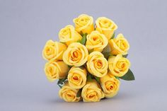 14pcs/1Bunch Yellow ROSE POSY WEDDING BRIDAL BOUQUET STEM ARTIFICIAL SILK FLOWER