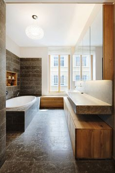 There are several ways to create a minimalist bathroom in your house. If you need some suggestions about a minimalist bathroom, then, here are several for you. Minimalist Bathroom, Modern Bathroom, Master Bathroom, Bathroom Fans, Bathroom Bench, Master Baths, Wood Bathroom, Family Bathroom, Bathroom Furniture