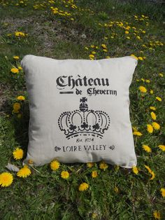Pillow - French Script, hand stenciled pillow by GreenMountainBoHo on Etsy https://www.etsy.com/listing/98773302/pillow-french-script-hand-stenciled