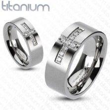 Titánium jegygyűrű - kereszt és cirkónia