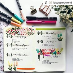 "1,556 Likes, 14 Comments - Bullet Journal Inspire (@bujoinspire) on Instagram: ""#Repost @lacqueredworld (@get_repost) ・・・ Floral Wednesday ¡! . NoteBook: @leuchtturm1917es…"""
