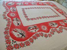 Christmas Scenes Table Cloth Snow Deer Barns Poinsettias Red Green 58x80 Vtg tc3