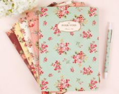 Ruled Notebook floral pattern / Flower Ruled Notebook by DubuDumo