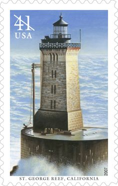 St. George Reef Lighthouse stands on an exposed rock off the coast of northern California. Visible from nearby Crescent City, the light from the tower's black cast-iron lantern began to warn vessels away from the hazardous reef hidden beneath the surface in 1892. This stamp was issued in 2007.