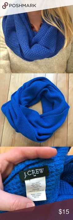 Jcrew infinity scarf Beautiful blue scarf, perfect for the colder months! Worn only a few times! Little stain as shown in pictures, but cannot tell when wearing the scarf! J. Crew Accessories Scarves & Wraps