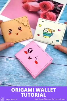 Video tutorial on how to make an origami wallet with paper Cool Paper Crafts, Paper Crafts Origami, Fun Diy Crafts, Diy Origami, Origami Wallet, Diy Wallet Paper, Origami Tutorial, Diy Wallet Tutorial, Graffiti Doodles