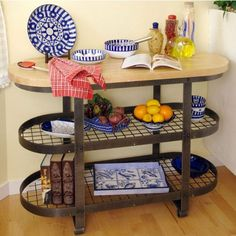 Enclume Gourmet Island with Shelves - Hammered Steel