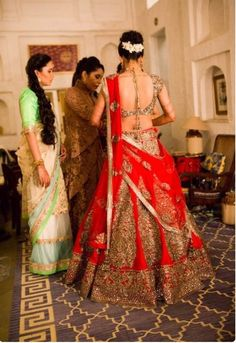 Red Bridal Lehenga Choli for an Indian Bride