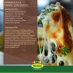 Espinaca a la crema con queso