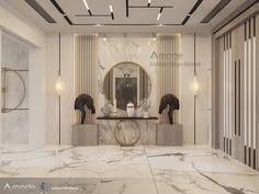 Ceiling Design Living Room, Home Room Design, Hallway Designs, Foyer Design, Modern Villa Design, Contemporary Interior Design, Home Entrance Decor, Entrance Foyer, Pink Bedroom Design
