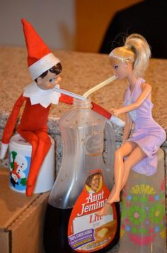 Barbie and Elf on the Shelf on a Date by Elf on a Shelf Ideas #elfontheshelf #uniqueelfontheshelfideas #bestelfontheshelfideas