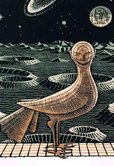 Titel: Other World. Kunstenaar: M.C. Escher. Detail: Wood-engraving an Woodcut, 1947. Postkaart
