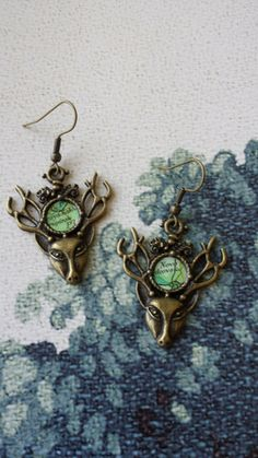 Forest Fauna Stag Earrings. Vintage map insert on antiqued brass setting.