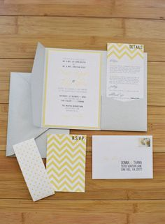 Chevron invitations but with pink/peach & gray
