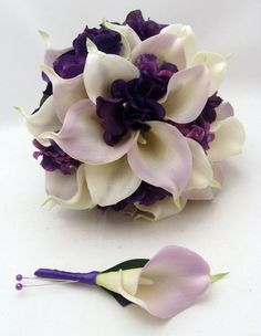 Wedding Bridal Bouquet - Real Touch Calla Lily Hydrangea Bridal Bouquet