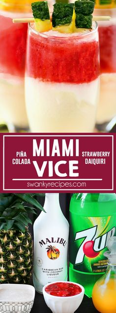Miami Vice - BEST tropical rum drink! Miami Vice cocktail with strawberry daiquiri and pina colada served chill. A fruity summer adult beverage and a classic tropical resort drink. Refreshing Summer Cocktails, Fun Cocktails, Summer Drinks, Cocktail Drinks, Fun Drinks, Alcoholic Drinks, Summertime Drinks, Holiday Cocktails, Mixed Drinks