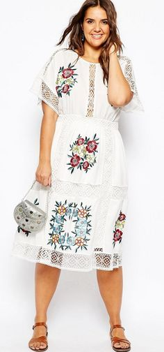 Plus Size Midi Dress With Patch Floral Embroidery And Crochet Lace