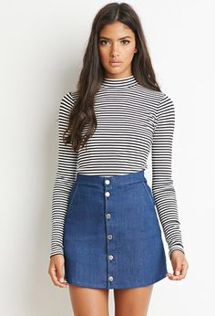 Buttoned Denim Skirt | Forever 21