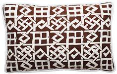 "Modern Lattice Brown and White 17"" Wide Lumbar Pillow -"