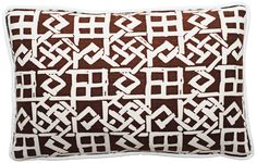"Modern Lattice Brown and White 17"" Wide Lumbar Pillow -"