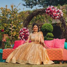 Use these tips to plan your eco-friendly wedding. Having an eco-friendly wedding does not mean boring or simple, it just shows that you care! Pink Bridal Lehenga, Bridal Dupatta, Summer Wedding Outfits, Bridal Outfits, Summer Weddings, Mehendi Outfits, Indian Outfits, Bridal Makeup Images, Orange Lehenga