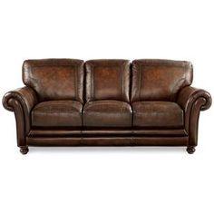 La-Z-Boy William Leather Sofa in Brown Mahogany
