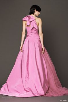 vera wang 2014 fall bridal pink strapless ball gown wedding dress back