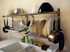 Ikea metal shelf and fold away dish dryer/storage rack by Happy Sleepy, via Flickr