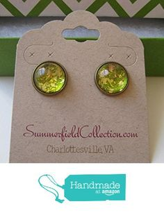 "Glitter Glass Stud Earrings 1/2"" Gold and Green http://www.amazon.com/dp/B017Y6PYTE/ref=hnd_sw_r_pi_dp_.zLrwb1NV455P #handmadeatamazon"