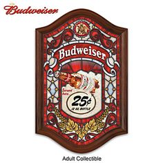 Budweiser Illuminated Stained Glass Tavern Sign Wall Decor