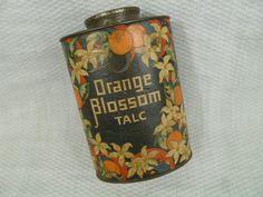Vintage Orange Blossom Talc Powder Tin Lander by FairchildsInc, $28.00