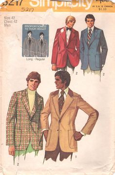 7bf7f5da776 Simplicity 5217 1970s Mens Sport Coat Pattern Proportioned Adult Vintage  Sewing Pattern Chest 42 or Chest 36