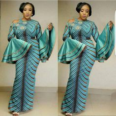 Sea Green African Print Dress/African Clothing/Women's Clothing/African Fashion/African Dress With Pockets/Ankara Dress/Maxi Gown African Dresses For Women, African Print Dresses, African Attire, African Wear, African Fashion Dresses, African Women, African Style, African Outfits, Ankara Fashion