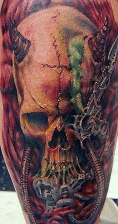 Skull Back Tattoo Designs | Tattoos.so » Skull Biomechanical Tattoo