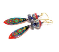 Boho Lampwork Bead Earrings. Enamel Charms. Long Dangle