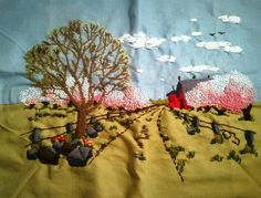 Crewel Embroidery Vintage Finished Unframed Country Scene Large Wall Hanging | eBay
