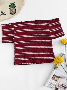 Shop Off Shoulder Lettuce Trim Striped Top online. SHEIN offers Off Shoulder Lettuce Trim Striped Top & more to fit your fashionable needs. Teen Fashion Outfits, Girl Outfits, Casual Outfits, Cute Outfits, Crop Top Outfits, Summer Outfits, Bardot Crop Top, Mode Kpop, Cute Crop Tops