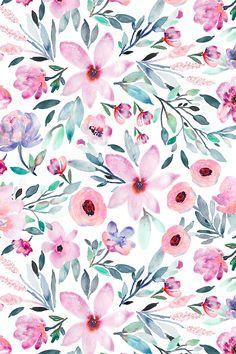 Floral watercolors by indybloomdesign. Beautiful Pink and emerald floral pattern… Floral watercolors by indybloomdesign. Beautiful Pink and emerald floral pattern on fabric, wallpaper, and gift wrap. Hand painted watercolor floral design in shades of. Flower Wallpaper, Wallpaper Backgrounds, Iphone Wallpaper, Fabric Wallpaper, Beautiful Wallpaper, Pink Wallpaper, Watercolor Wallpaper Phone, Floral Pattern Wallpaper, Wallpaper Patterns