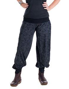 cool Vishes – Alternative Bekleidung – Damen Haremshose Chinohose aus Baumwolle mit elastischem Bund – aus Baumwolle bedruckt schwarz Einheitsgröße 32 bis 42