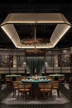 Architecture Restaurant, Restaurant Interior Design, Interior Architecture, Chinese Restaurant, Cafe Restaurant, Asian Restaurants, Restaurant Lighting, Ceiling Design, Dining Area