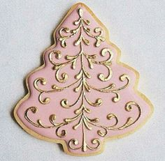 pretty christmas cookies Weihnachtspltzchen Come t - christmascookies Christmas Tree Cookies, Iced Cookies, Christmas Sweets, Christmas Cooking, Noel Christmas, Royal Icing Cookies, Holiday Cookies, Pink Christmas, Fancy Cookies