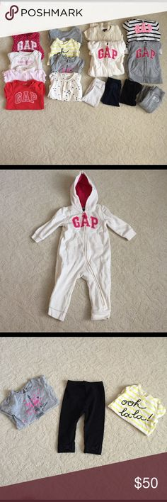 Gap 17 Item Bundle Great pre-worn condition. Washed only, never dried. Bundle includes: 4 long sleeve onesies, 2 short sleeve onesies, 1 knit dress, 1 eared beenie, 1 dress onesie, 3 pairs of bow back leggings, gray hoodie and sweats set, 1 striped hoodie, 1 long sleeve sweater and 1 footless zip up hoodie/pants. All items are 6-12 months GAP Matching Sets