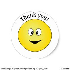 thank toy happy cross eyed face classic round sticker